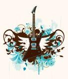 Chitarra elettrica con gli elementi di disegno Fotografie Stock Libere da Diritti
