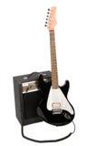 Chitarra elettrica con l'ampère Immagini Stock Libere da Diritti