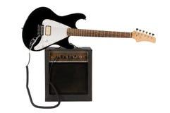 Chitarra elettrica con l'ampère Immagini Stock