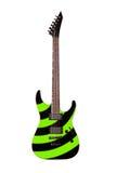 Chitarra elettrica verde isolata su fondo bianco Fotografia Stock