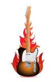 Chitarra in fiamme Fotografia Stock Libera da Diritti