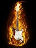 Chitarra in fuoco Fotografia Stock