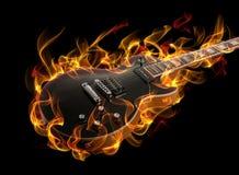 Chitarra in fuoco Immagini Stock Libere da Diritti