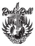 Chitarra, microfono, ali, rose sul manifesto per il concerto rock illustrazione vettoriale