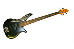 Chitarra nera elettrica bassa Fotografie Stock