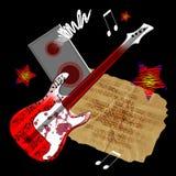 Chitarra rossa Fotografia Stock Libera da Diritti