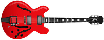 Chitarra rossa Immagini Stock