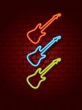 Chitarre al neon Fotografia Stock Libera da Diritti