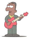 Chitarrista dei blu del fumetto che gioca chitarra Immagine Stock Libera da Diritti