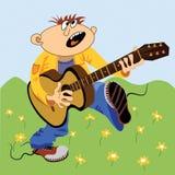 chitarrista del fumetto Fotografie Stock Libere da Diritti
