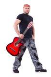 Chitarrista della chitarra acustica che gioca i particolari Immagini Stock