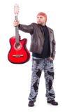 Chitarrista della chitarra acustica che gioca i particolari Fotografie Stock Libere da Diritti