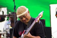 Chitarrista della chitarra acustica che gioca i particolari immagine stock