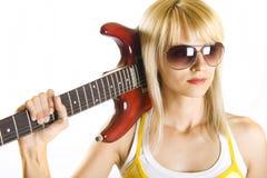 Chitarrista della donna Fotografia Stock Libera da Diritti