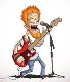 Chitarrista di canto della roccia Fotografia Stock Libera da Diritti