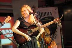 Chitarrista femminile Fotografie Stock