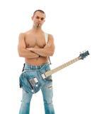 Chitarrista su priorità bassa bianca Immagine Stock