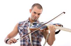 Chitarrista su priorità bassa bianca Fotografia Stock