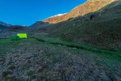 Camping Tent in Chitkul Trek - Landscape of Sangla Valley, Himachal Pradesh, India / Kinnaur Valley royalty free stock images
