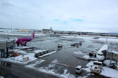 Chitose airport on a snowy day Sapporo Stock Photos