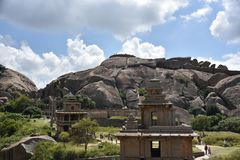 Chitradurga Fort monuments and ruins, Karnataka. India stock image