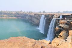 Chitrakootwatervallen & indravaririvier India stock foto's