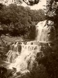 Chittenango Falls Side View Sepia royalty free stock photos