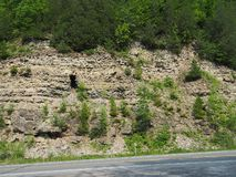 Chittenango NY岩石墙壁 免版税库存照片