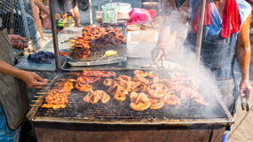 Chitterlings grill street food in thailand Stock Photos