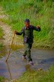 CHITWAN,尼泊尔- 2017年11月03日:使用横渡一根木的棍子的旅游指南一个水坑在森林里在Chitwan 免版税库存照片