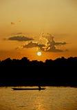 chitwan nationalparksolnedgång Arkivfoton