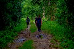 CHITWAN NEPAL, LISTOPAD, - 03, 2017: Niezidentyfikowani ludzie chodzi pod ulistnieniem cieszy się pięknego widok glina Zdjęcia Stock