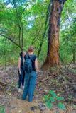 CHITWAN NEPAL, LISTOPAD, - 03, 2017: Niezidentyfikowani ludzie wśrodku lasu z niektóre suchymi liśćmi w ziemi wewnątrz Obraz Royalty Free