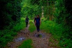 CHITWAN NEPAL - NOVEMBER 03, 2017: Oidentifierat folk som går under lövverket som tycker om den härliga sikten av en lera Arkivfoton