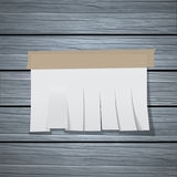 The Chity sheet. Of paper cut by strips on a wooden wall. The white paper template pasted by an adhesive tape with a shadow. Vector realistic illustration vector illustration