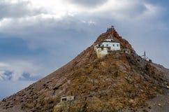 Chiu Monastery on Lake Manasarovar. stock images