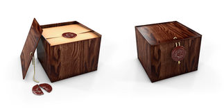 Chiuda e cofanetti aperti della scatola di legno con il bollo reale illustaration 3d Fotografia Stock