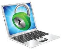 Chiuda il concetto a chiave del computer portatile dell'icona Immagine Stock Libera da Diritti