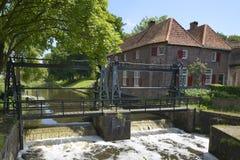 Chiuda il fiume a chiave di Eem in città di Amersfoort Fotografia Stock