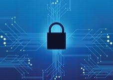 Chiuda il fondo a chiave di tecnologia di rete della guardia della sicurezza di sicurezza Fotografia Stock