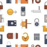 Chiuda il lucchetto a chiave di vettore con il buco della serratura per protezione e sicurezza che chiude il sistema a chiave con illustrazione vettoriale
