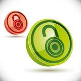 Chiuda l'icona a chiave 3d su fondo bianco Immagini Stock Libere da Diritti