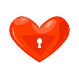 Chiuda l'icona a chiave del cuore Fotografie Stock Libere da Diritti