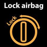 Chiuda l'icona a chiave dell'airbag, il segno del cruscotto - icona dell'illustrazione - errore di codice del dtc, mazzo dello st Fotografia Stock