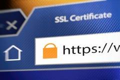 Chiuda l'icona a chiave durante la connessione SSL Fotografia Stock