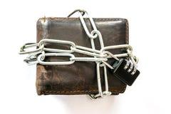 Chiuda la borsa a chiave di cuoio con la catena chiave Fotografia Stock