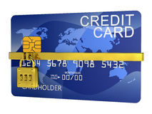 Chiuda la carta di credito a chiave Immagine Stock
