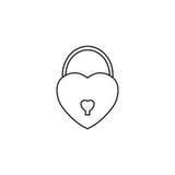 Chiuda la linea a chiave a forma di cuore l'icona, biglietti di S. Valentino del segno di amore Immagini Stock Libere da Diritti