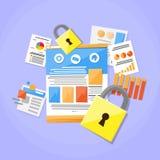 Chiuda la segretezza a chiave sicura del lucchetto di concetto di protezione dei dati illustrazione vettoriale
