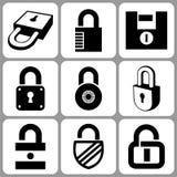 Chiuda le icone a chiave illustrazione di stock